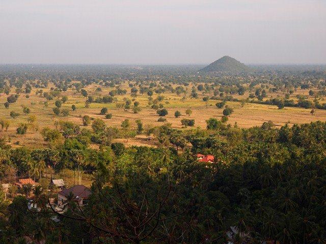 View of the valley below Phnom Sampeau mountain.
